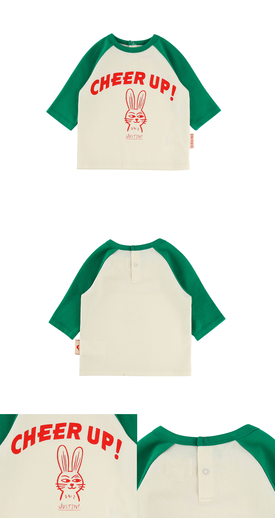 Cheer up baby color block three-quarter tee 상세 이미지