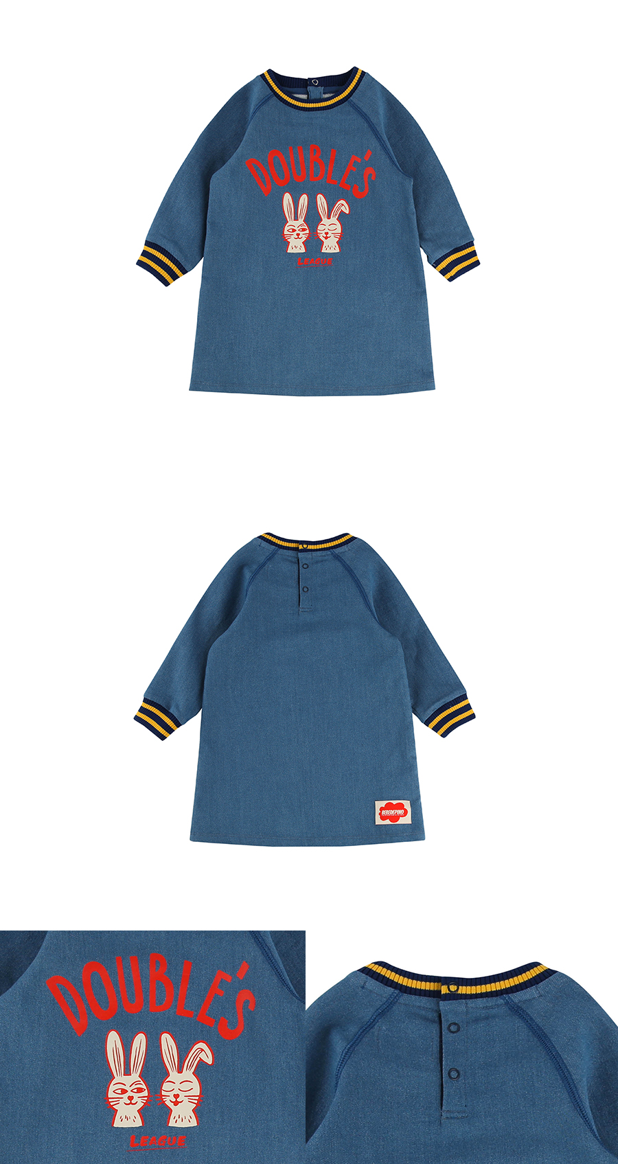 Doubles rabbit baby jersey denim dress 상세 이미지