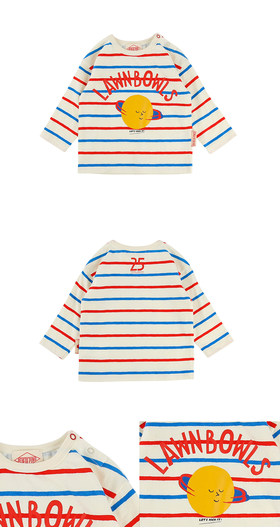 Lawn bowls baby multi stripe three quarter tee 상세 이미지