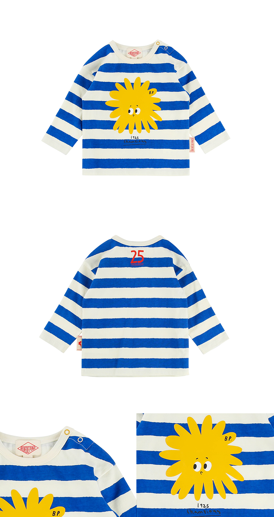 Pompom baby bold stripe long sleeve tee 상세 이미지