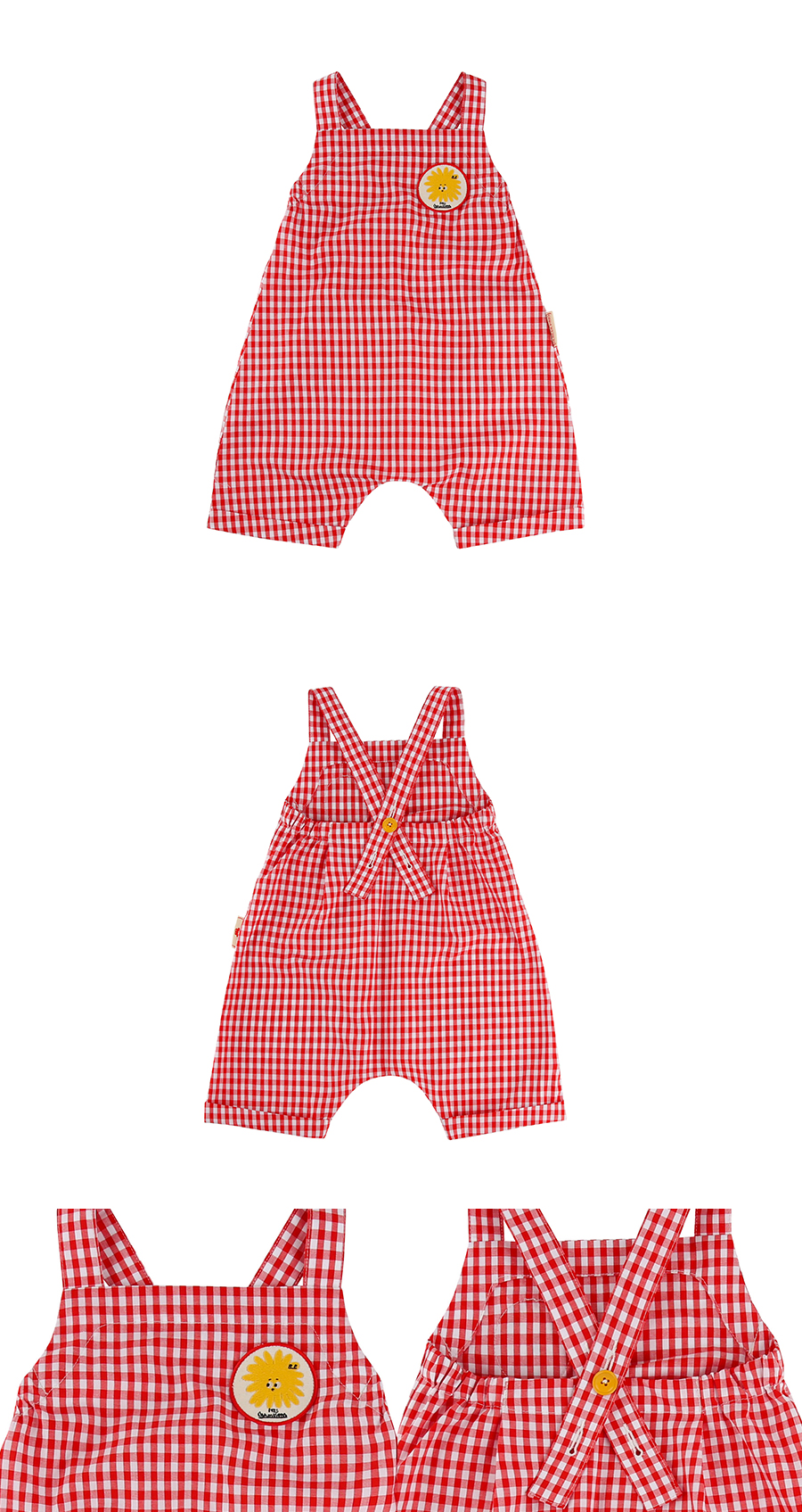 Pompom wappen baby gingham check playsuit 상세 이미지