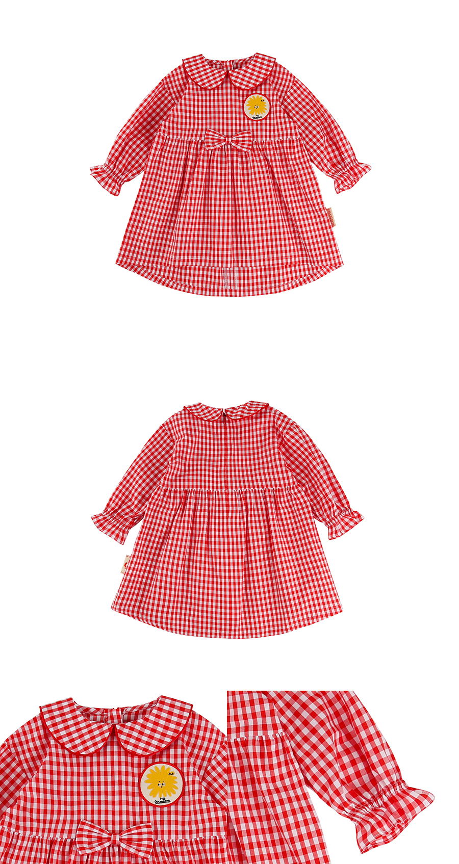 Pompom wappen baby scarlet gingham check dress 상세 이미지