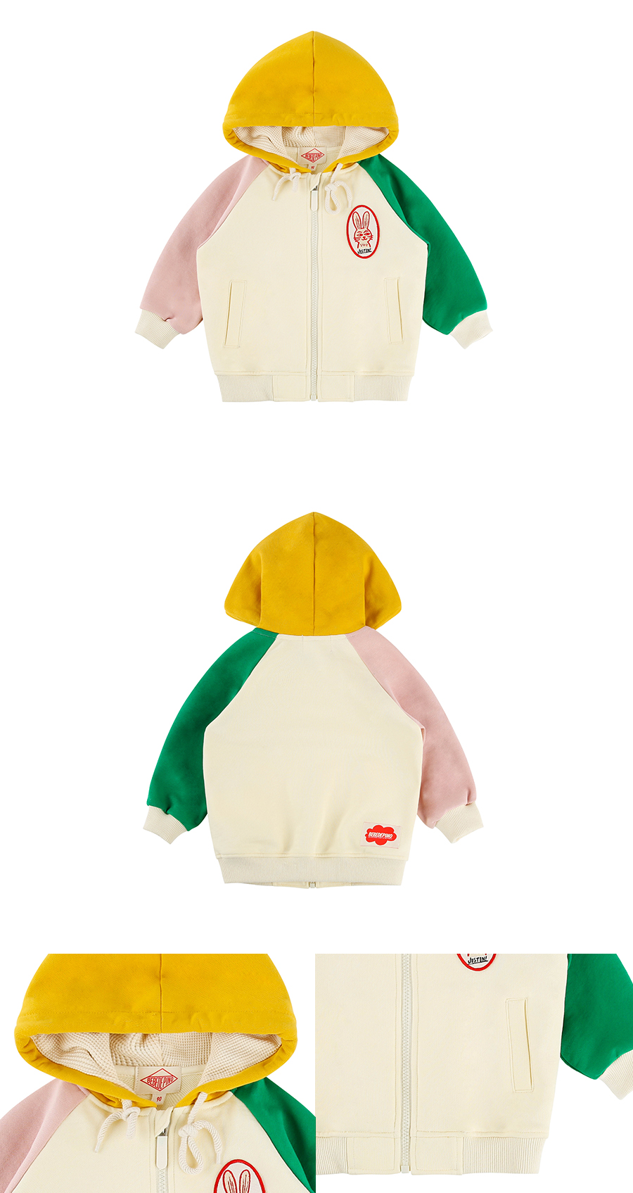 Rabbit wappen baby color block hood zip up jacket 상세 이미지