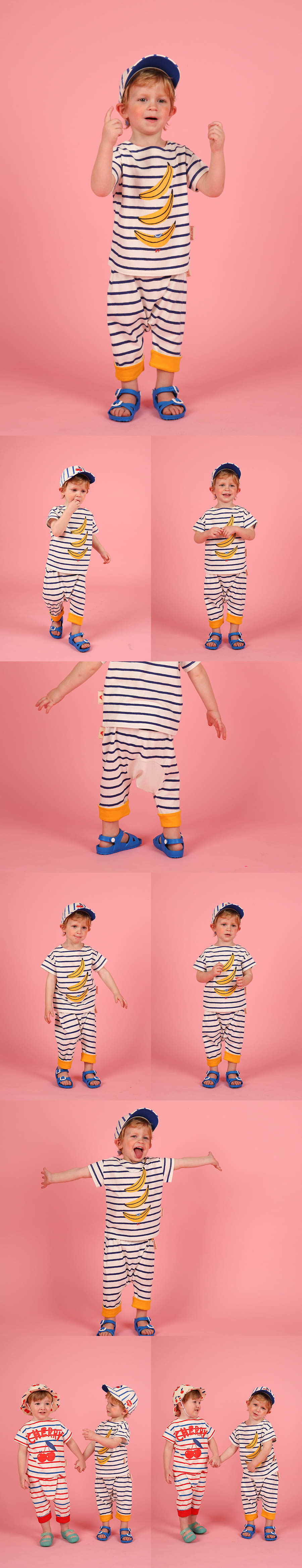 Banana baby stripe roll up baggy pants 상세 이미지