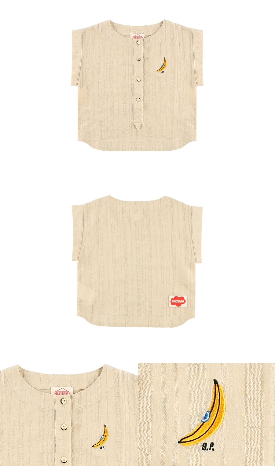 Banana french sleeve cotton blouse 상세 이미지