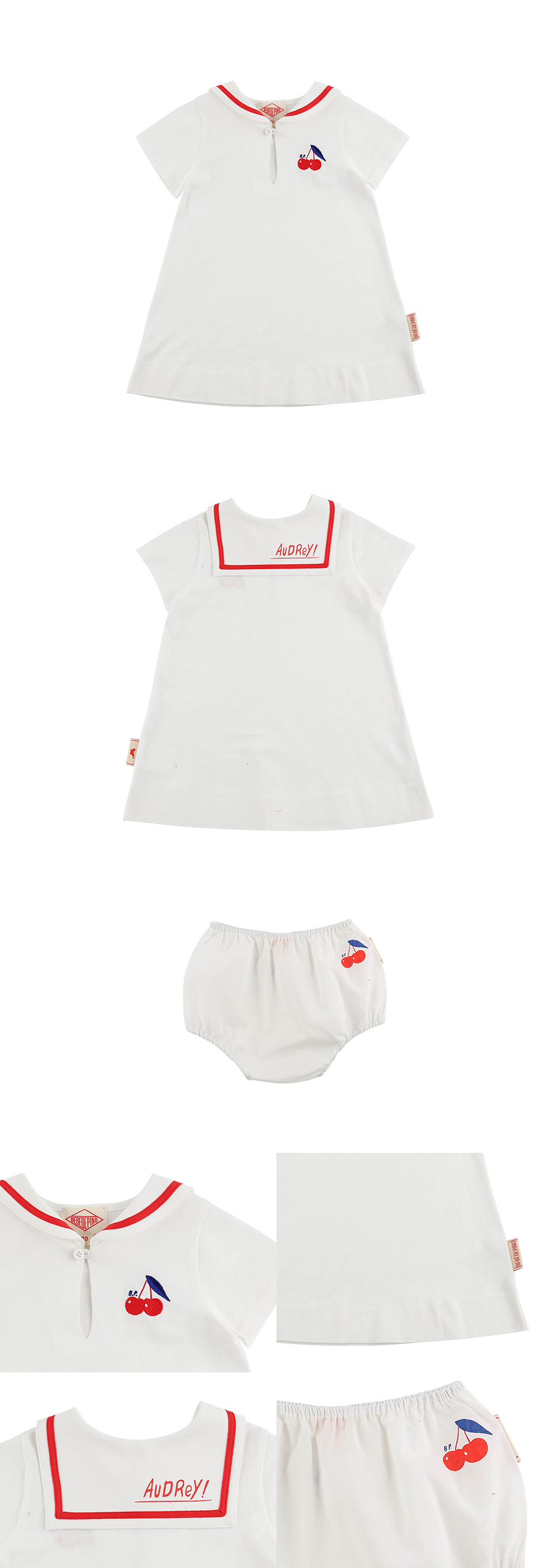 Cherry baby sailor pique dress set 상세 이미지