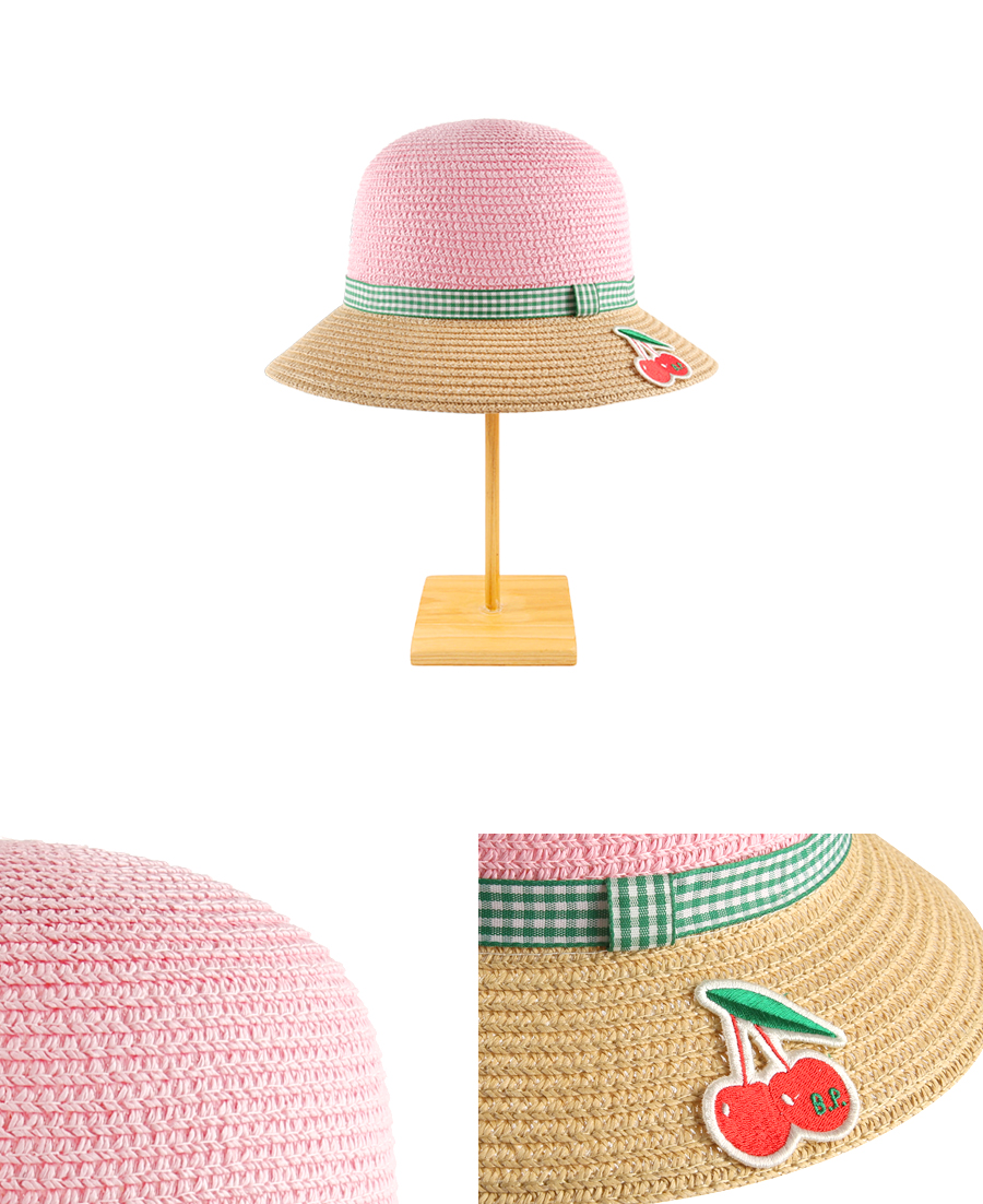 Cherry color block pink straw hat 상세 이미지