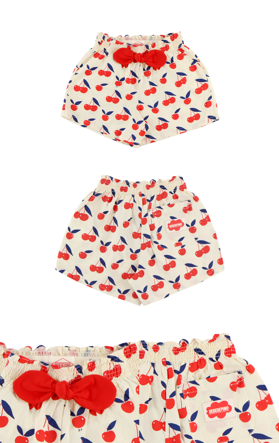 Multi cherry smocking shorts 상세 이미지