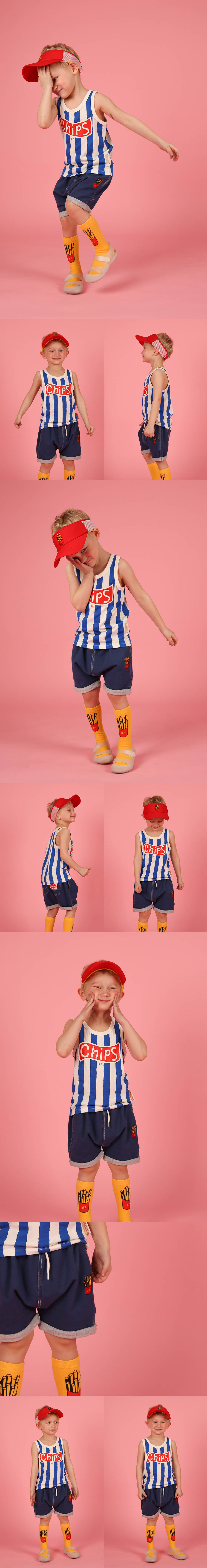 Potato chips baggy fit jersey denim shorts 상세 이미지
