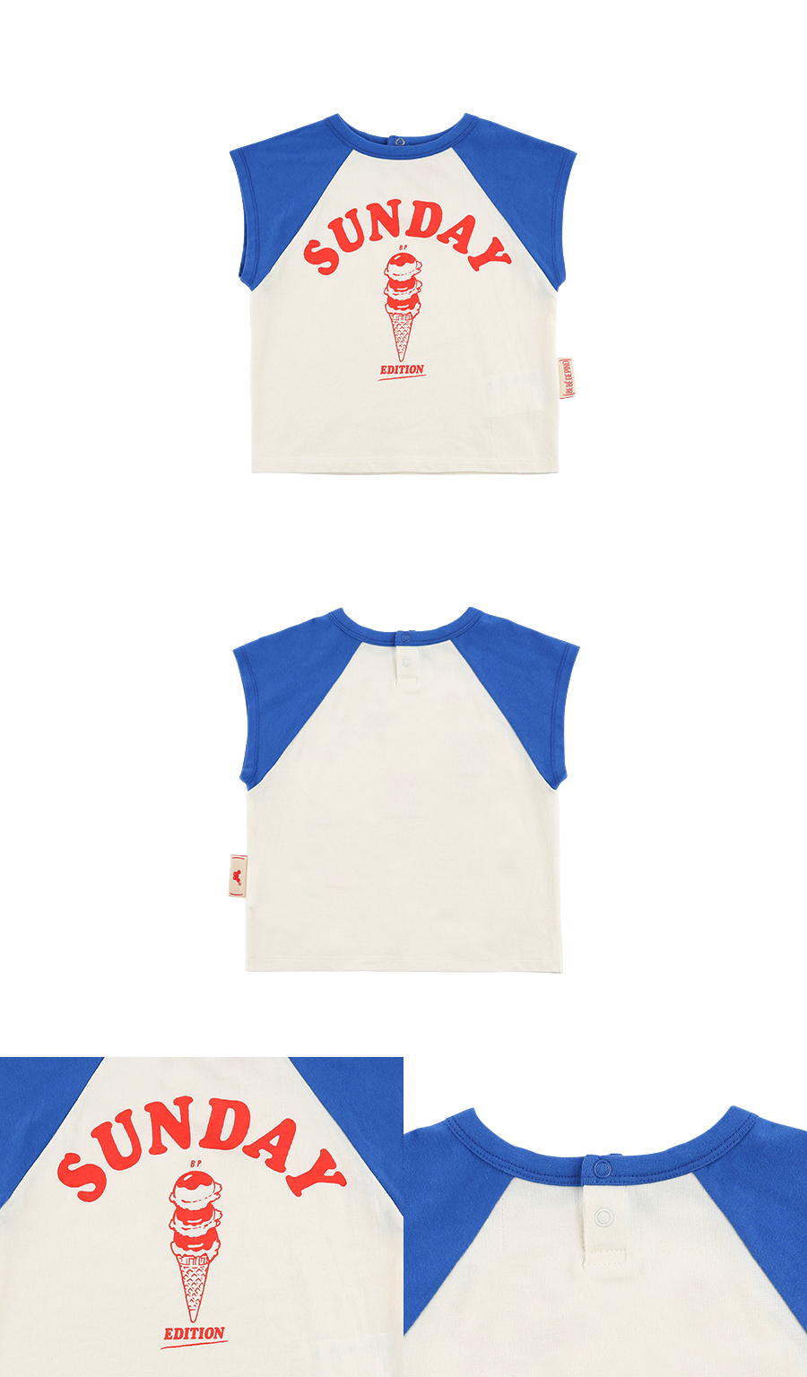 Sunday ice cream baby raglan sleeveless tee 상세 이미지
