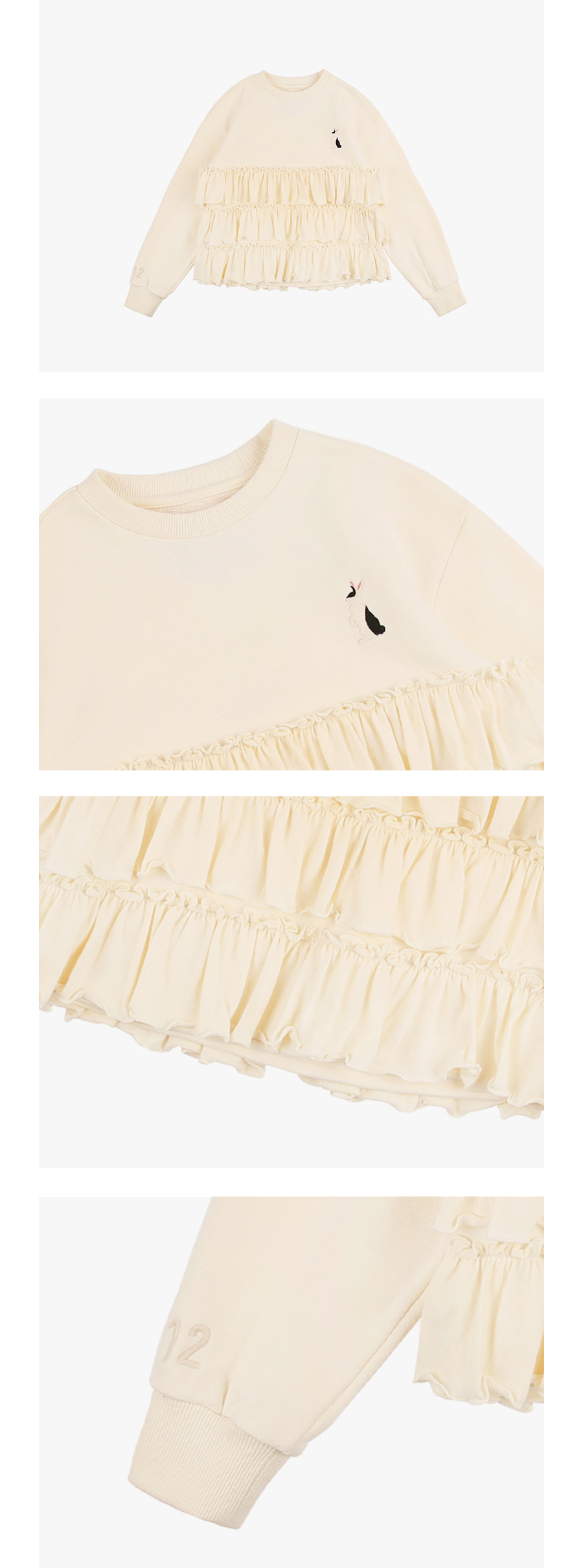 Rabbit tiered ruffle sweatshirt 상세 이미지