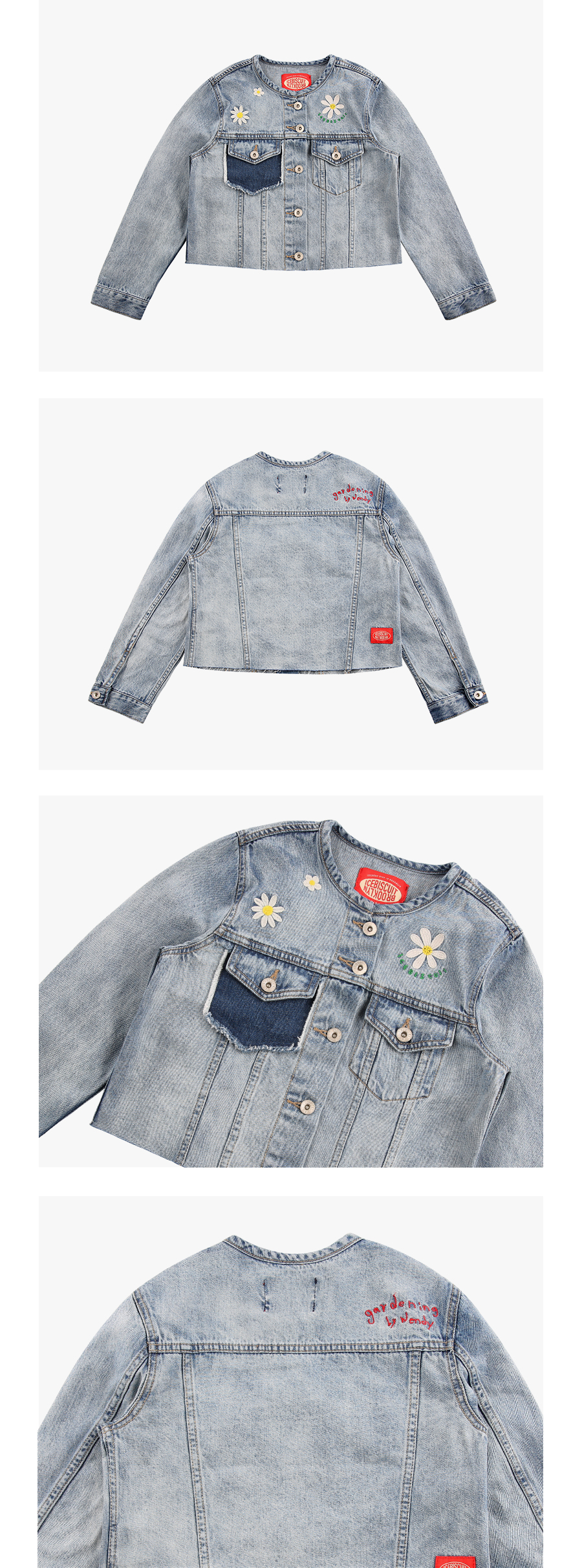 Daisy color block crop denim jacket 상세 이미지