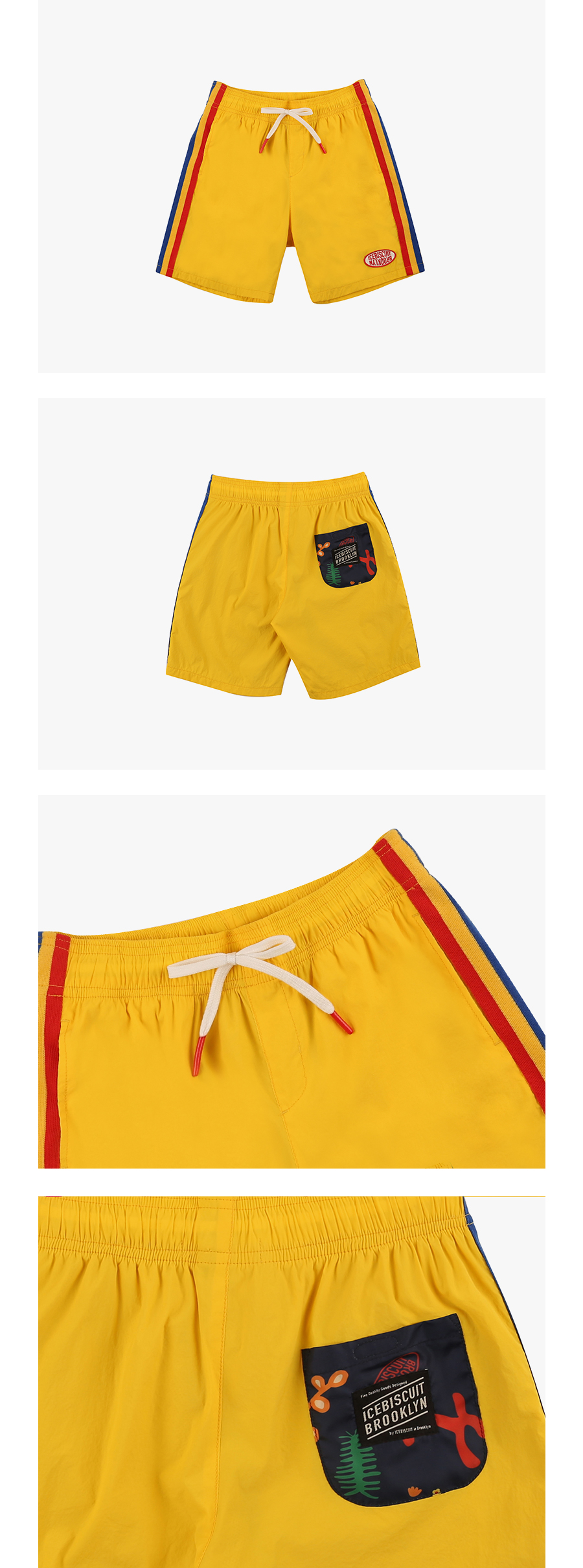 Yellow color block shorts 상세 이미지