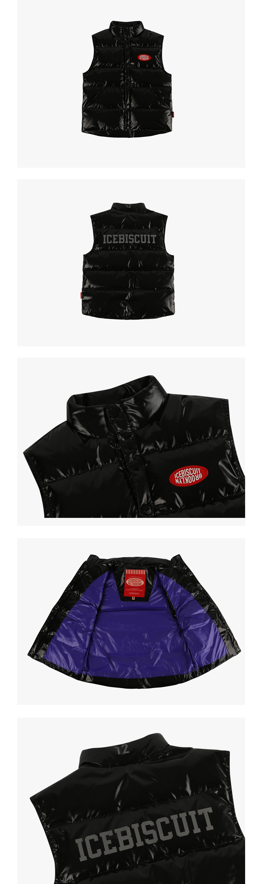 Icebiscuit big logo puffy down vest 상세 이미지
