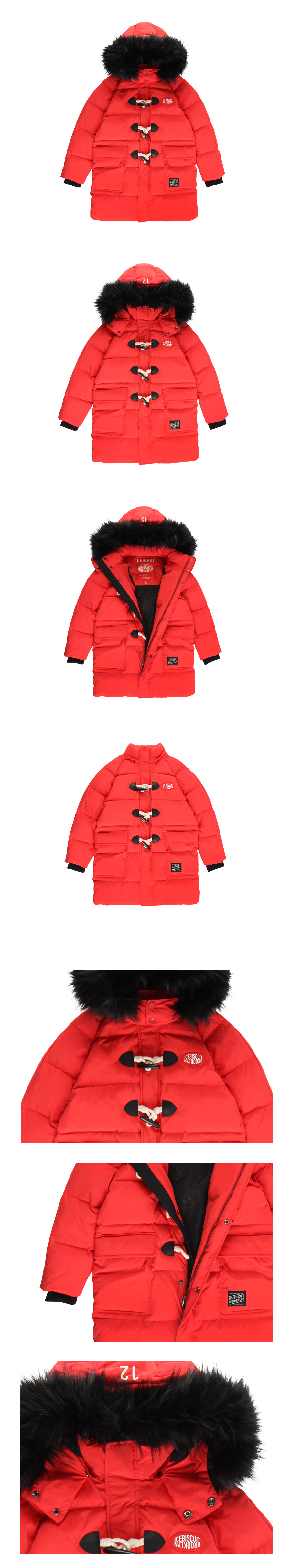 Logo patch quilted down duffle coat 상세 이미지