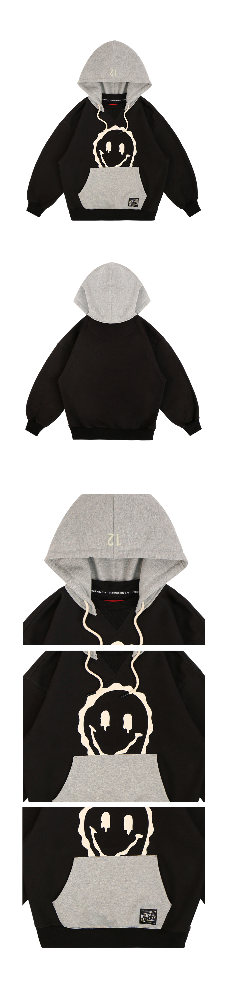 Melting smile color block hoodie 상세 이미지