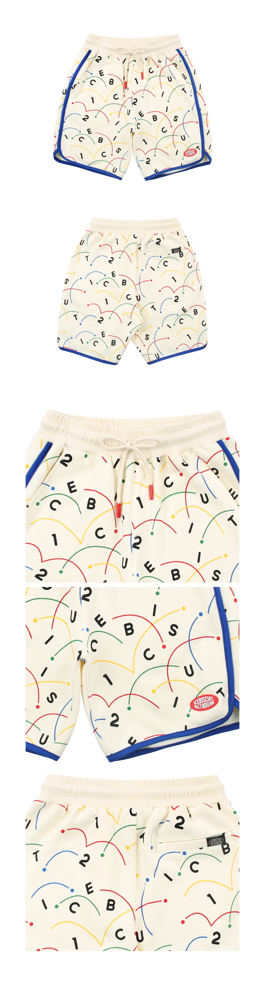 Colorful tennis-printed sweat shorts 상세 이미지
