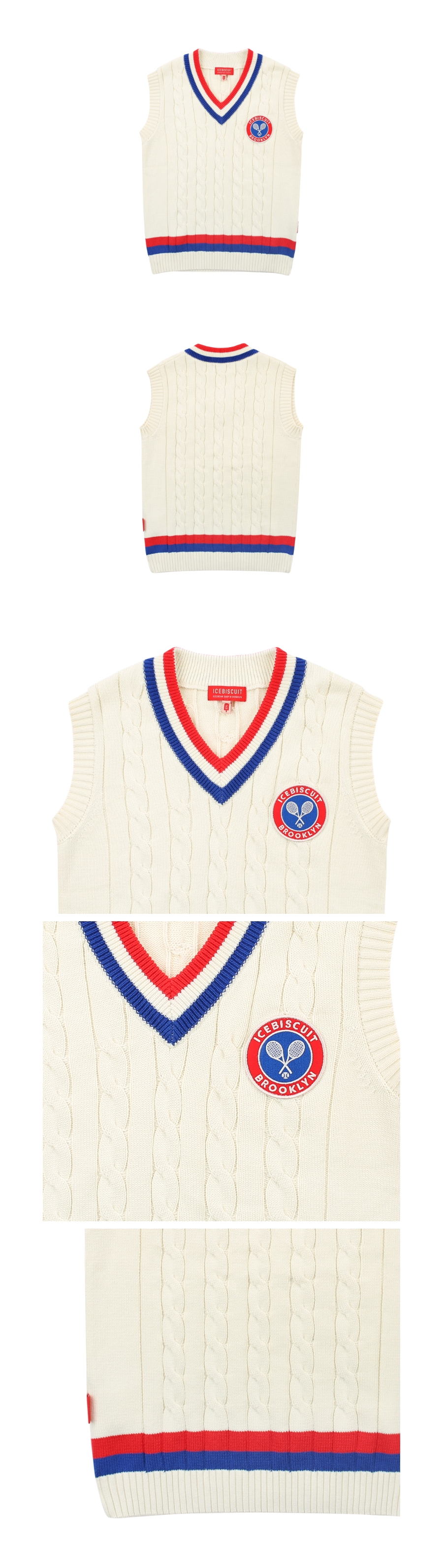 Icebiscuit tennis emblem cable sweater vest 상세 이미지