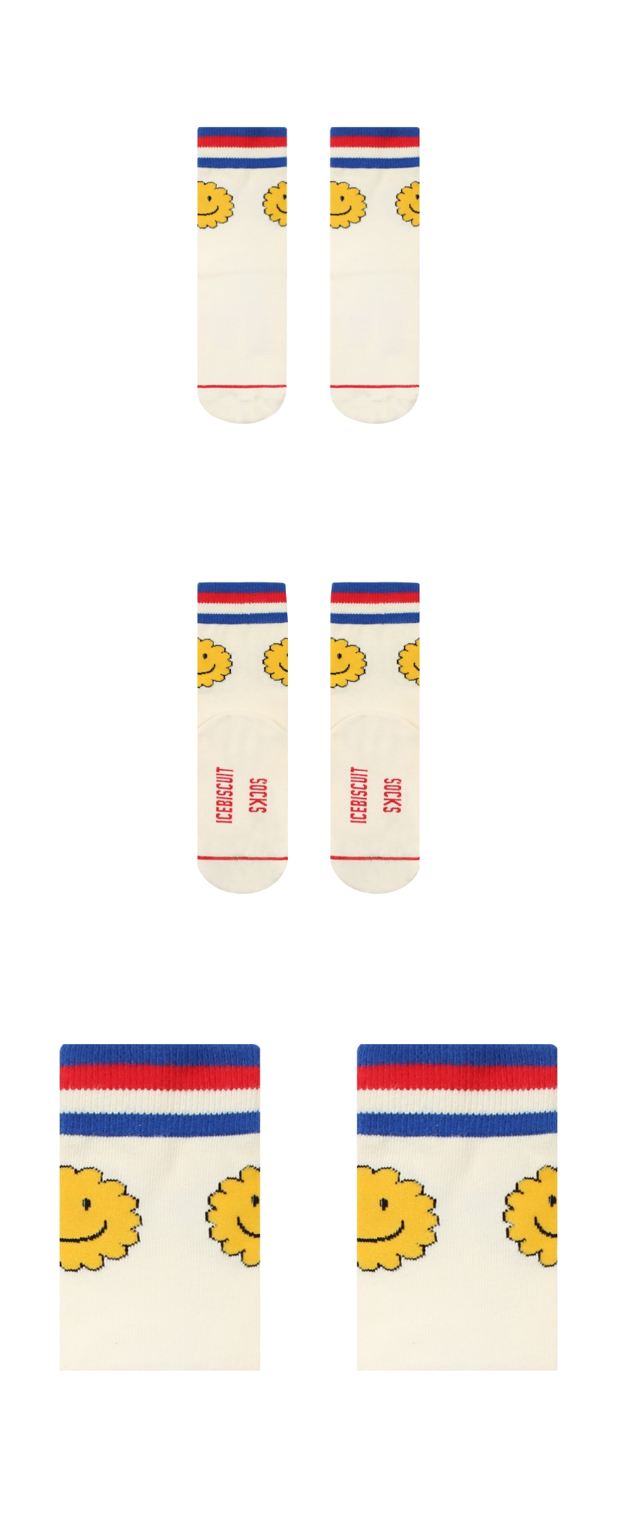 Stripe point smile socks 상세 이미지