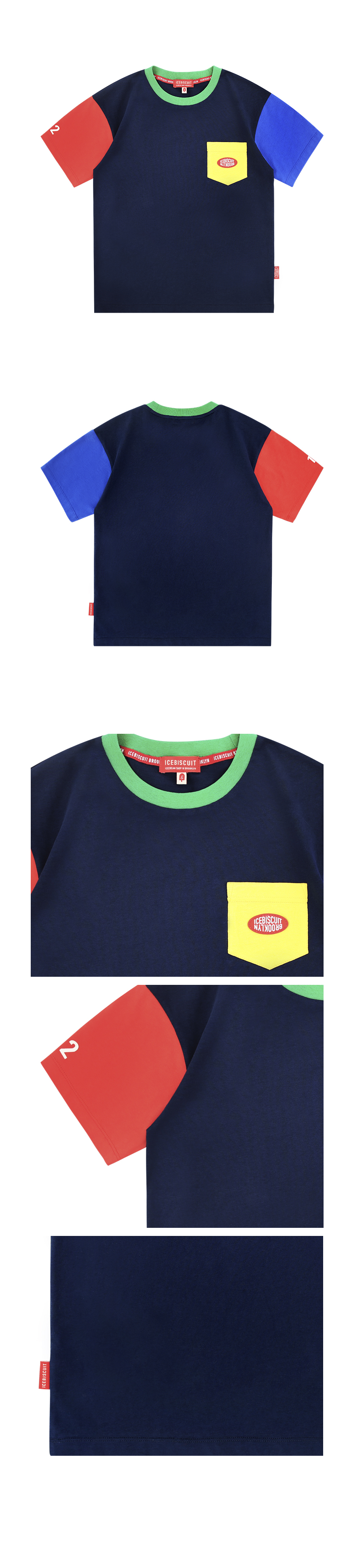 Icebiscuit logo patch color block t-shirt 상세 이미지