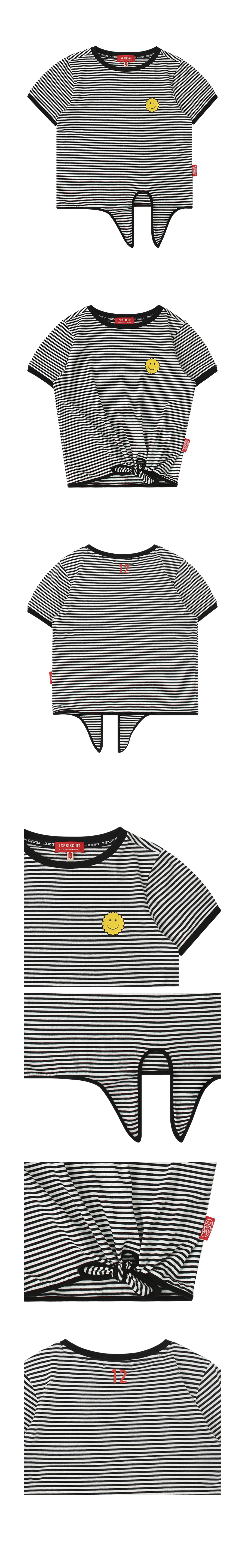 Smile front tie stripe t-shirt 상세 이미지