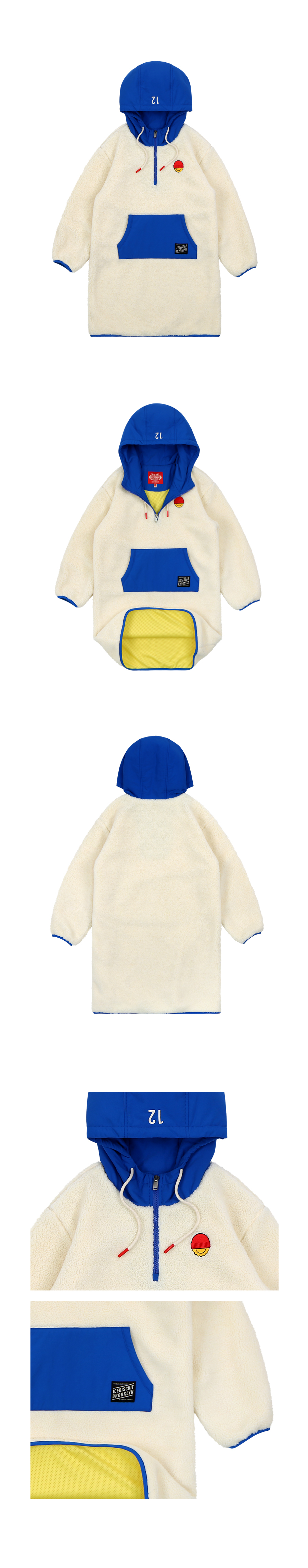 Beanie smile half-zip sherpa fleece hooded dress 상세 이미지