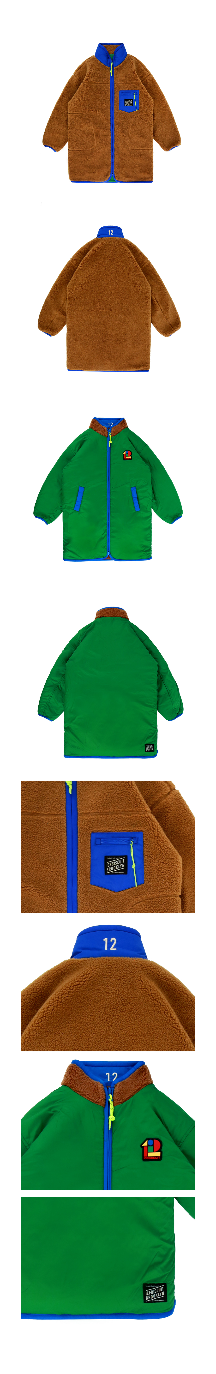 Color block reversible sherpa fleece long jacket 상세 이미지